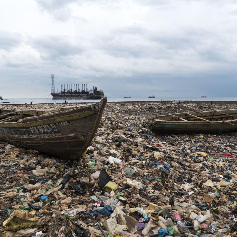 Sierra Leone slum, Kroo Bay, which is full of plastic waste and other rubbish.