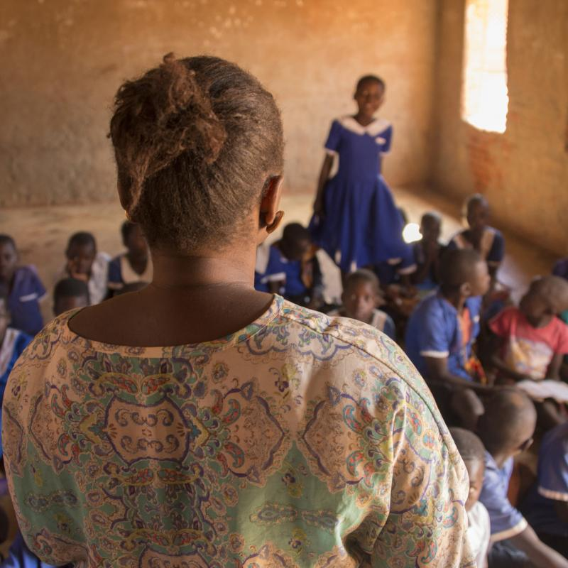 Phyness Kankhwali, a teacher on VSO's Unlocking Talent programme, teaches in the classroom at the Mdzobwe Primary School in rural Lilongwe