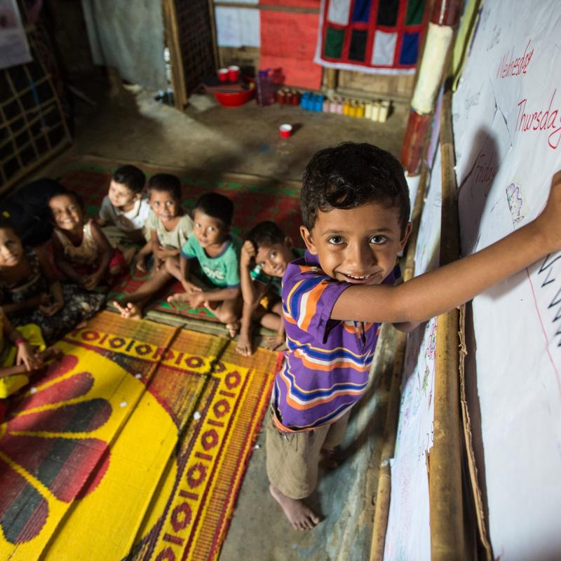 Monir, 5, participating in learning at an ECCE centre. 31 were supported by VSO, in Camp 15 situated at Jamtoli of Ukhiya.