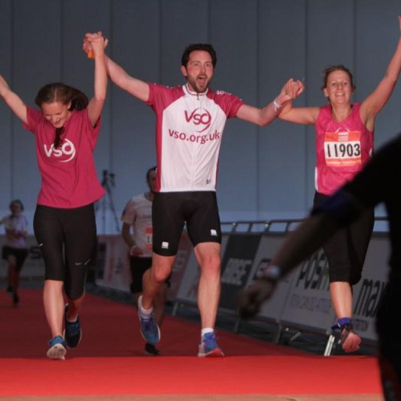 Triathlon Event Participants in Celebration