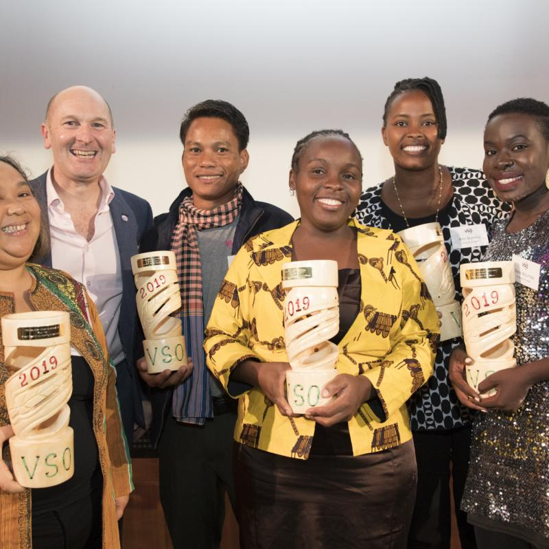 VSO Volunteer Impact Award winners 2019 with Chief Executive Philip Goodwin