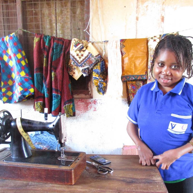 Young woman learns tailoring skills in Tanzania