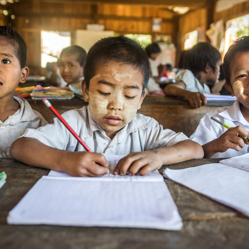 Boys in a classroom in a small village school near Mindat town, Myanmar.