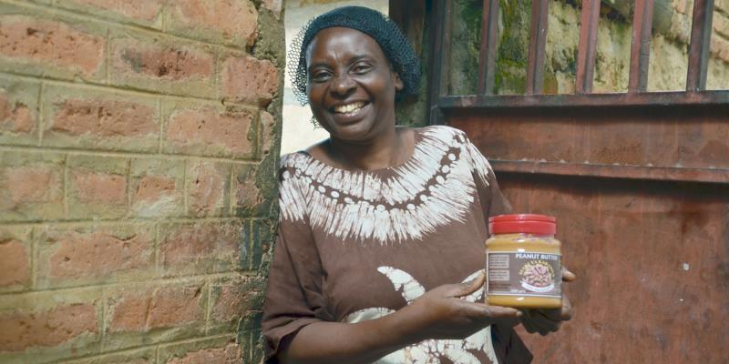 Celina Kisha Chibanda owner of Chi products with one of her jars of peanut butter