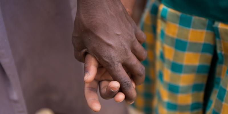 Girls hold hands at Goriko School,Ghana