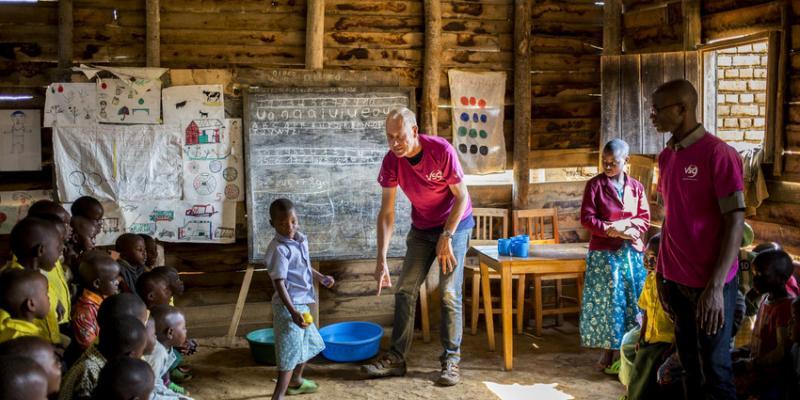 VSO volunteer Jan Thomas with colleagues at Boli Nursery School, Nyamasheke, Rwanda