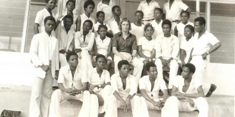 Ken Longden with his class in Nigeria 40 years ago