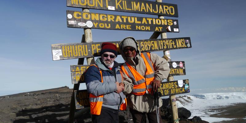 Keith Davies at Uhuru Peak, the top of Mount Kilimanjaro