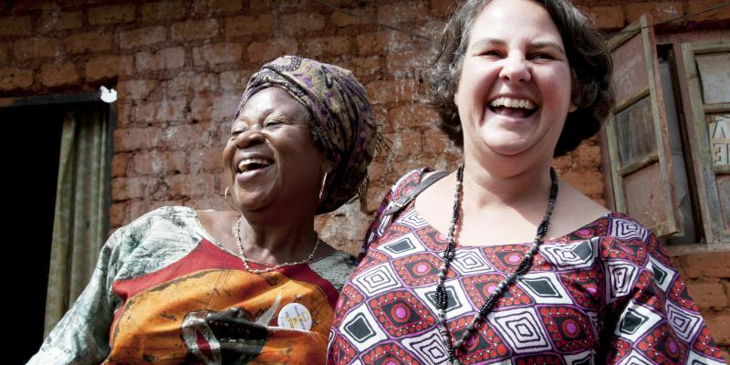 Ngitop community. Sarah Koye Ngalla, school teacher , with Michelle Hain VSO volunteer in Cameroon
