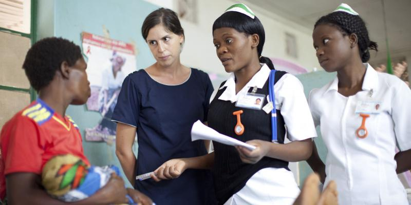 Beth Connelly Midwife trainer at Holy Mission Hospital Palombe, with students Lillian Mkunga and Zione Lipenga