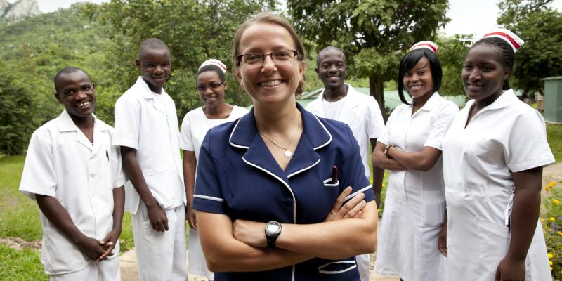 Briony Jenkins, Paediatric Nurse trainer, 27, with some of her paediatric nursing students. Nkhoma Mission Hospital, Zomba, Malawi