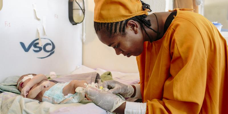 A doctor treats a newborn baby in a neonatal intensive care unit in Arba Minch, Ethiopia
