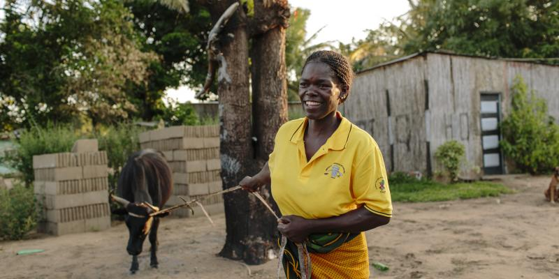 Celeste joined an income generating activities workshop called Phoning Out Poverty and AIDS (POPA), which is supported by VSO. Armed with new skills, she has developed a successful milk, sewing and mobile phone airtime business