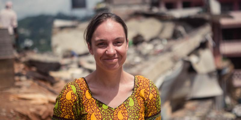 VSO volunteer Jessica Stanford in Nepal after the earthquake
