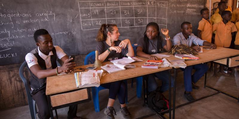 VSO ICS volunteer Raluca Moraru and Gifty Arthur conducting a quiz at Goriko school, Talensi District, Ghana