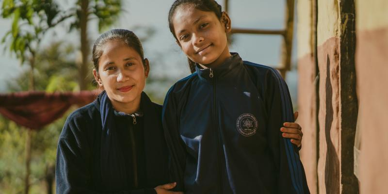 A VSO trained Big Sister with her Little Sister in Nepal