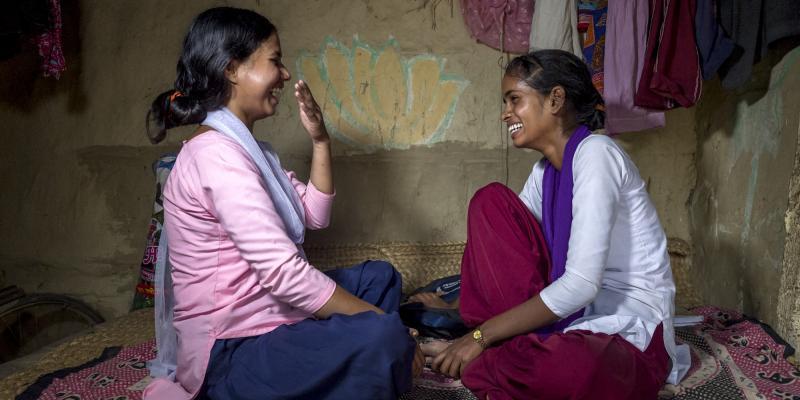 School girl Arti and big sister Anu in Nepal