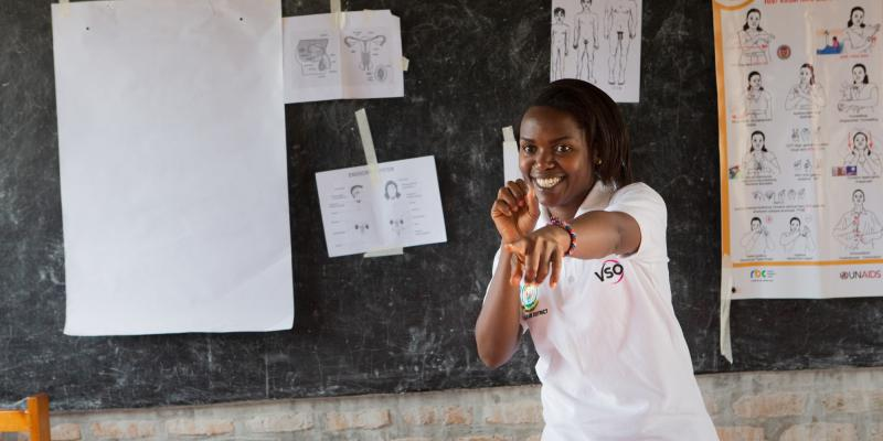 Volunteer Brown at Umutara School for Deaf