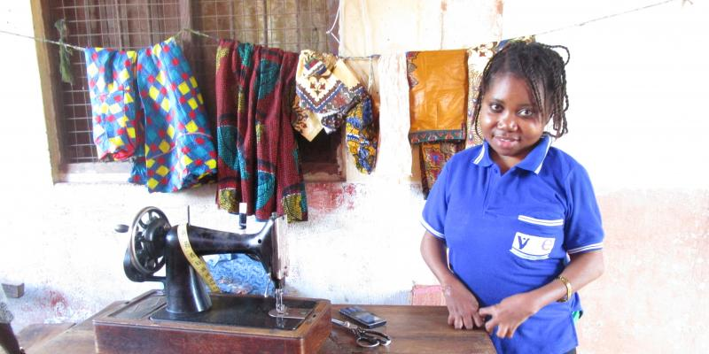 Young woman learns tailoring skills in Tanzania