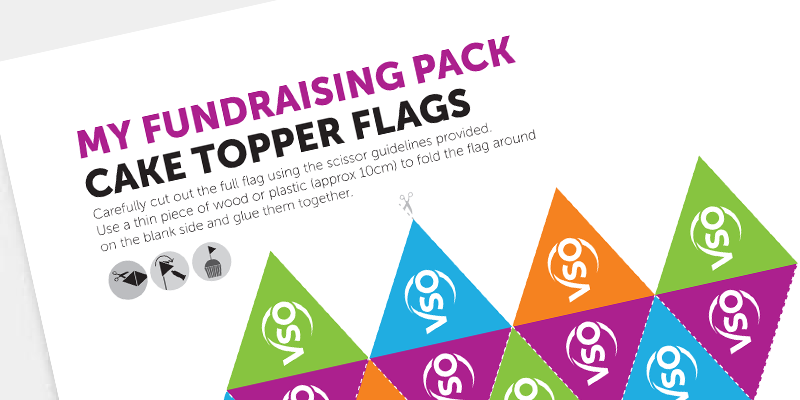 these eye catching cake-top-flags will add a splash of colour to your cake sale
