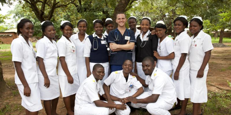 David Atherton with a group of student nurses in Malawi