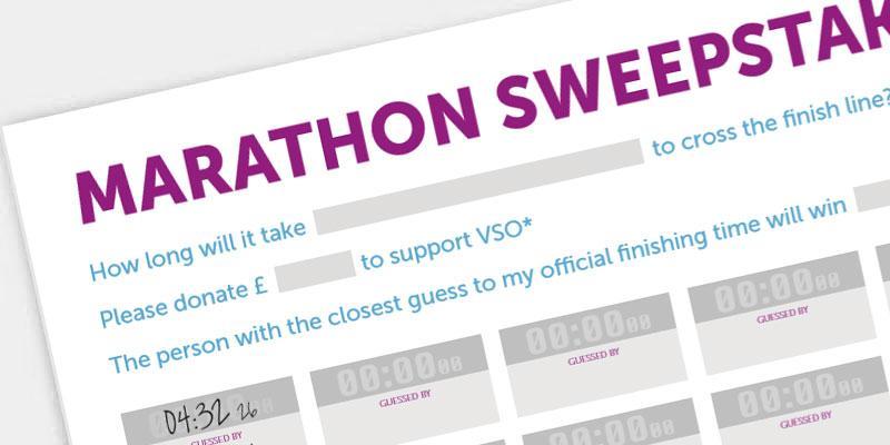 VSO branded marathon sweepstake form