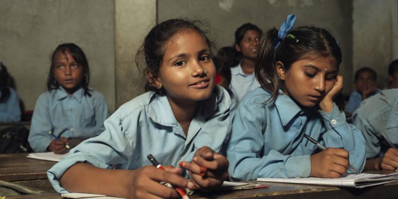 Prinsi in class, Nepal