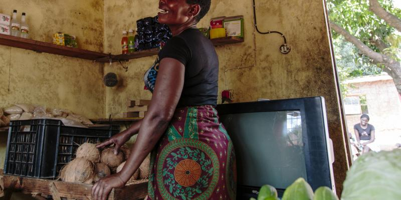 Rute in her shop in Mozambique