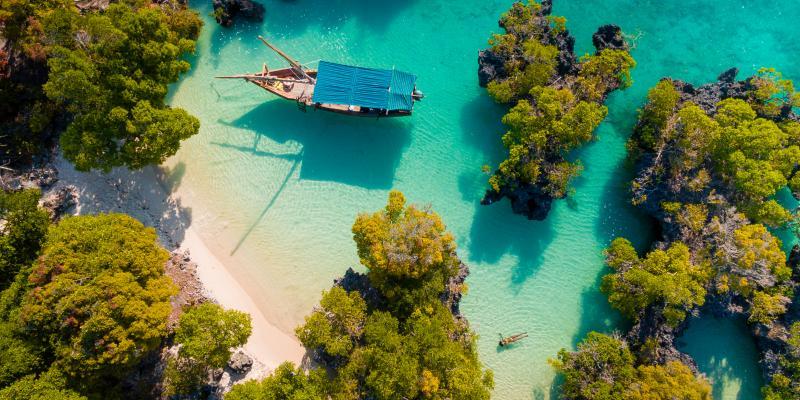 aerial view of the pamunda island, Zanzibar