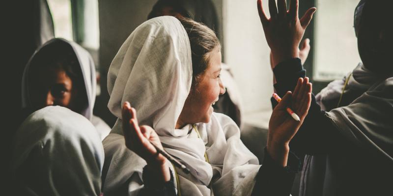 Girl in a classroom in Pakistan