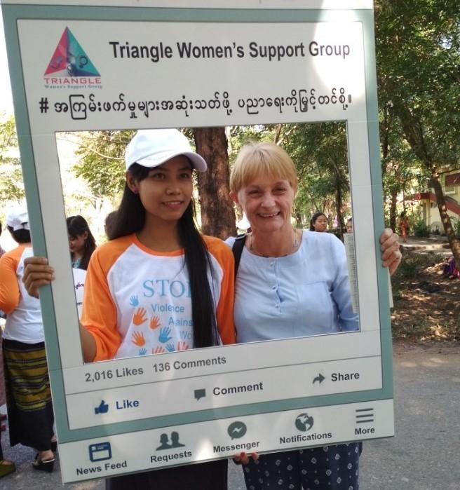 Jane Stageman on the streets of Myanmar, campaigning during the Me Too movement