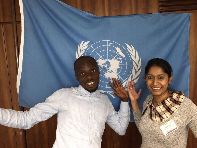 VSO volunteers Gregory from Nigeria and Tangina from Bangladesh at the conference of International Volunteer Cooperation Organisations.