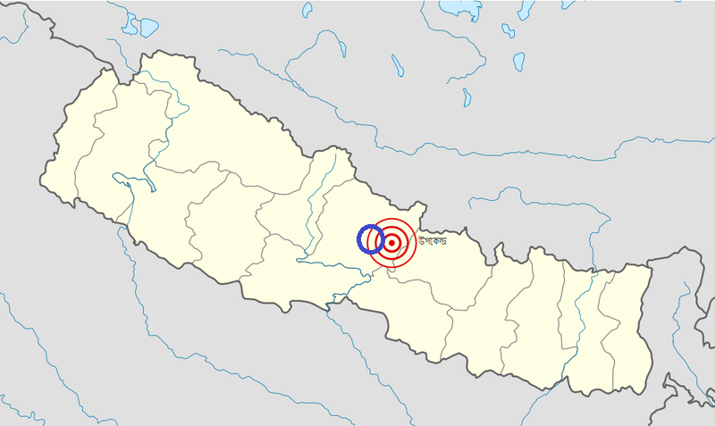 Map of the 2015 Nepal earthquake