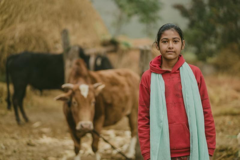 Pramila, 13, from Nepal, stands in front of her family's cattle.