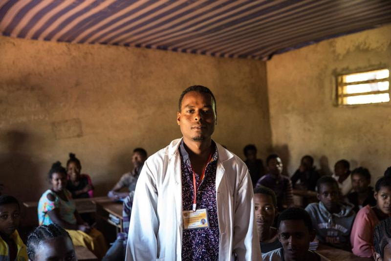 Mohammed Mideso, chemistry teacher, took part in a UNICEF-supported training this summer that covered psychosocial support and emotional learning.