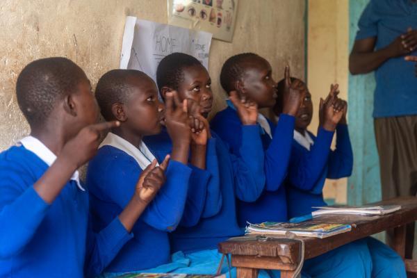 Pupils practise Kenyan Sign Language