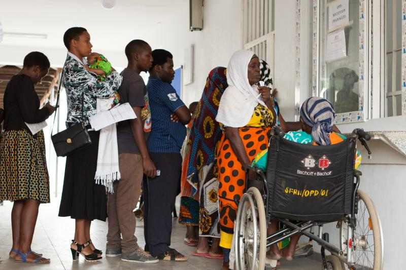 A busy Out Patient Department at St Francis Hospital, Tanzania
