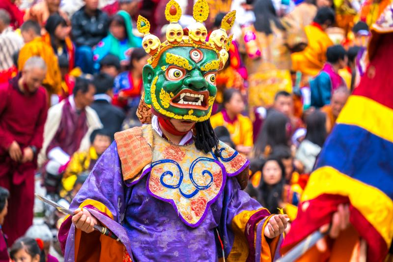 Cham dancer performing the ritual dance at Paro Tsechu, one of the biggest Buddhist festivals