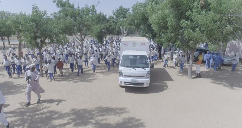 VSO Nigeria's mobile science lab pulls up at a school