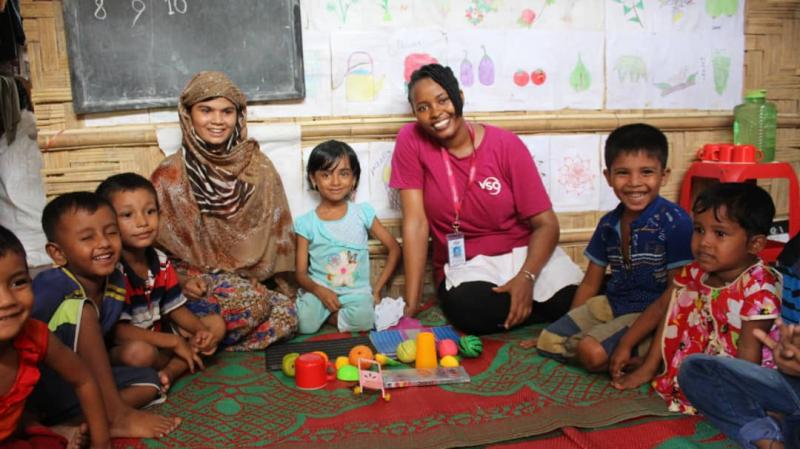 Ann Wambui with Rohingya children at one of the education centres at Cox's Bazar refugee camp.