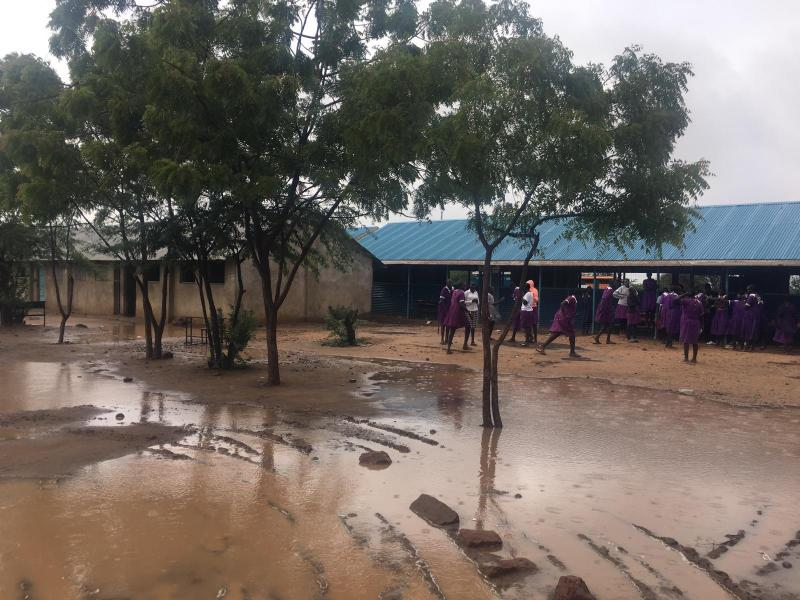 A school in Kakuma refugee camp affected by flooding.