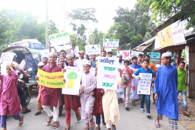 Children and young people in Bangladesh march for action on climate change as part of the global Fridays for Future movement