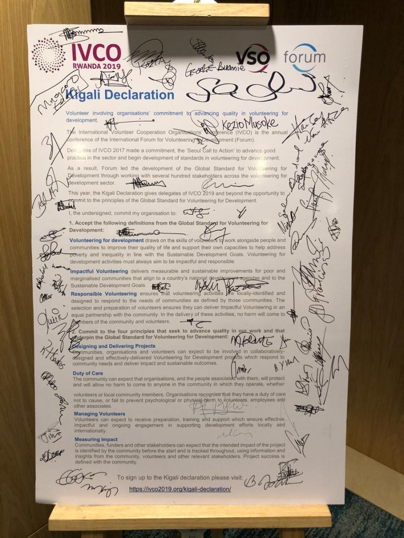 The Kigali Declaration signed by volunteering for development organisations at IVCO