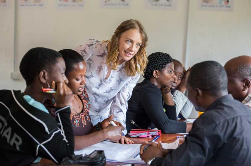 Claire Nic Gabhann from Monaghan training teachers and introducing child-centred teaching methods on placement in Bukoba, Tanzania. The SDGs recognise that volunteers like Claire are central to achieving the SDGs.
