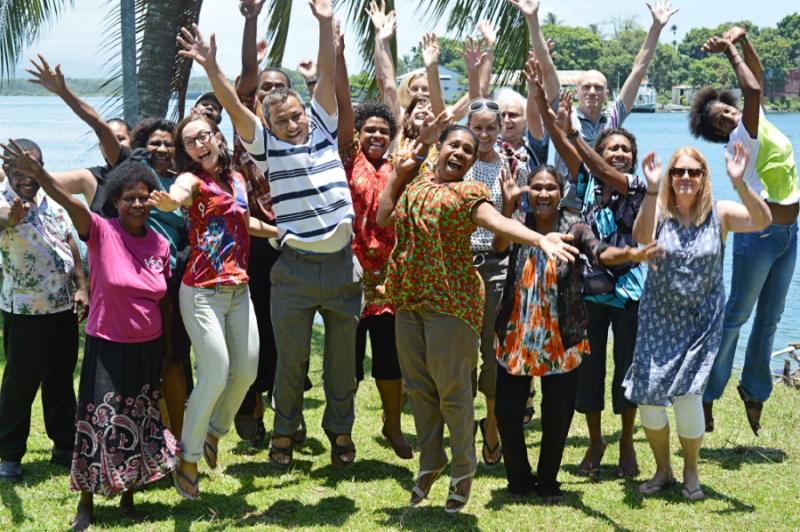 VSO PNG Staff and volunteers jumping