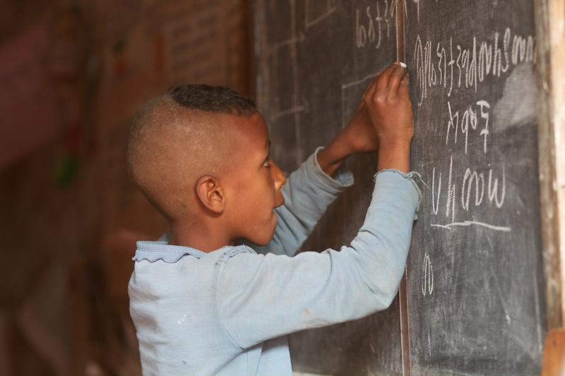 School children learning inside a model classroom in Finote Selam, Ethiopia