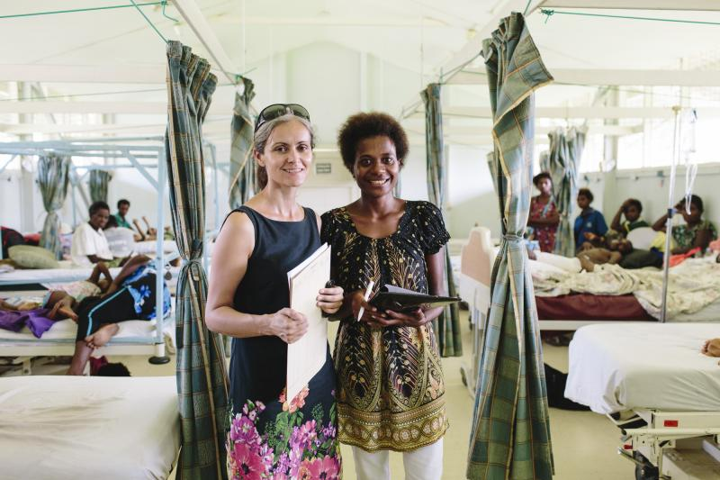 Social worker Robin Borausiki with her colleague Catherine Bedford at Modilon Hospital in Madang, Papua New Guinea. VSO volunteer Catherine Bedford is a Family and Sexual Violence Mental Health Nurse.
