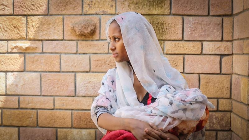 Maeza new mother in Tigray, Ethiopia