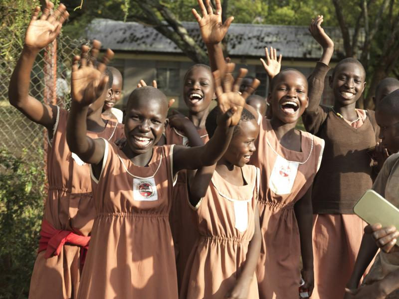 Happy girls in school in Uganda