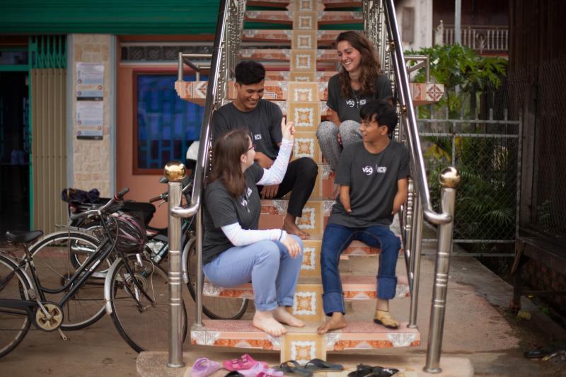 ICS youth volunteers in Kratie, Cambodia